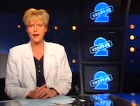 EO-presentatrice Janny Fijnvandraat in het decor van 2Vandaag in 1994 tijdens een uitzending.