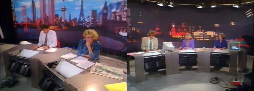 Het Véronique nieuws decor met de dag- en avond opstelling tijdens de testuitzending (1989)